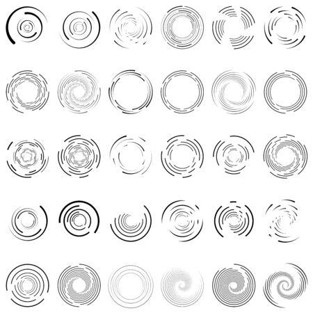 Tourbillon, spirale, cercle de tourbillon ensemble de 30. Lignes circulaires radiales et rayonnantes aléatoires. Volutes, illustration de jeu d'hélices. Jeu d'anneaux concentriques