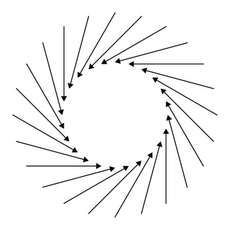 Radial, circular arrow for swirl, twirl, turn concepts. Concentric pointer illustration for revolve, recycle themes. Circulation, tweak cursor design