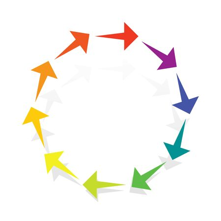 Circular, radial arrows for burst, extension, alignment themes. Dissolve, extend radiating pointer illustration. Expand, radiation cursor, arrow design