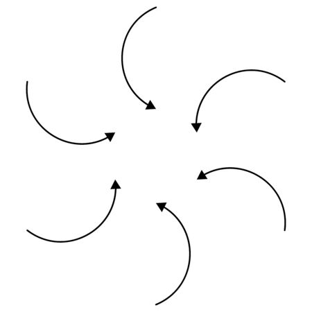 Inward circular, radial arrows for tighten, collision and collide themes. Collapse,  denture cursor illustration. Diminish, merge concept pointer element
