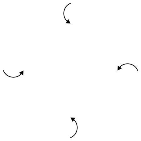 Einwärts kreisförmige, radiale Pfeile für Festziehen, Kollision, Kollisionsthemen. Zusammenbruch, Gebisskonzept-Cursor-Darstellung. Verkleinern, Zeigerelement zusammenführen Vektorgrafik