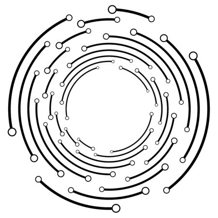 Plexus, wire-frame radial circles with nodes. Geometric spiral for technology, block chain, circuit like themes. Cycle rings design. Swirl, twirl, vortex concentric lines. Molecule, circuit concept illustration Illustration