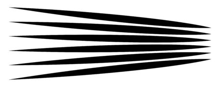Lines, stripes in perspective. 3d strips vanishing, diminishing to horizon. Angle burst radial lines. Straight, parallel, horizontal streaks Vectores