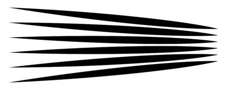 Lines, stripes in perspective. 3d strips vanishing, diminishing to horizon. Angle burst radial lines. Straight, parallel, horizontal streaks Illustration