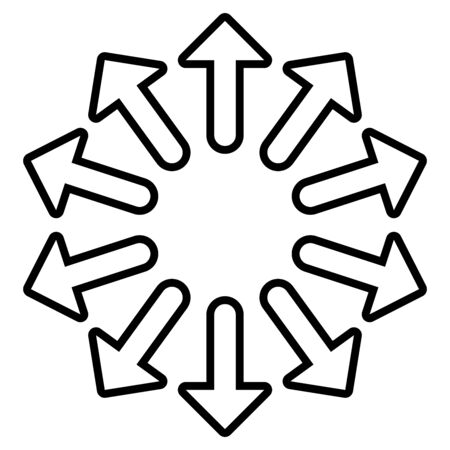 Radial, radiating arrows for expand, extend, explosion themes. Diverge, alignment concept circular pointers illustration. Spoke-like bulge, extrusion cursor design Vecteurs