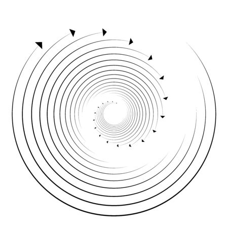 Rotation, revolve, torsion concept circular arrow illustration. radial, radiating spiral, whirl, twirl of pointers design. circulation, recycle, recovery abstract arrows shape. segmented circles, rings at angles. procedure, process, progress theme radiating cursor