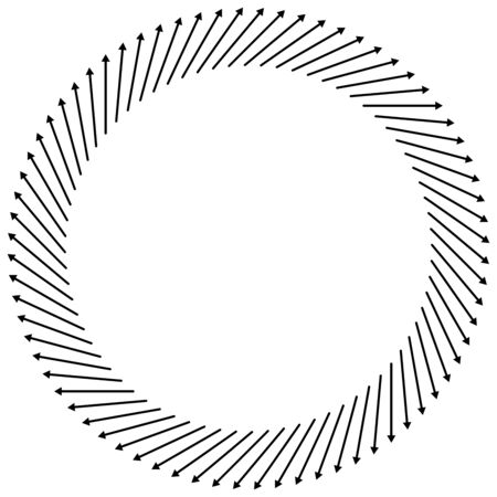 Radial, circular arrows pointing from center. Concentric pointers for extrusion, protrusion themes. Diffuse, dissension, bloat concept cursors illustration