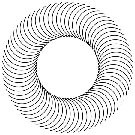Radial, circular arrow for swirl, twirl, turn concepts. Concentric pointer illustration for revolve, recycle themes. Circulation, tweak concept cursor design Ilustrace