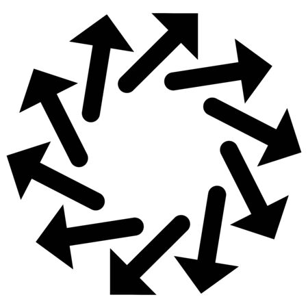 Circular arrows for cycle, repeat themes. Progress, process, procedure concept pointer design. Cyclical, spinning arrows