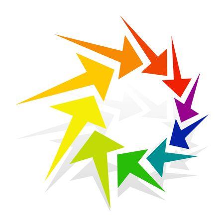Circular, radial arrow for centrifuge, twist, cycle themes. Ripple, exchange pointer design. Cursor illustration for redo, flow, circulation concepts Reklamní fotografie - 131157422