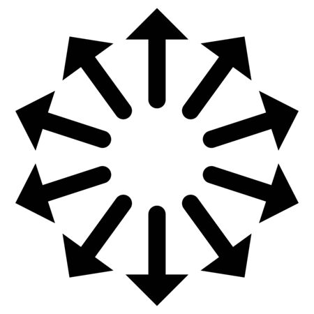 Radial, radiating arrows for expand, extend, explosion themes. Diverge, alignment concept circular pointers illustration. Spoke-like bulge, extrusion cursor design