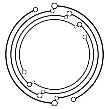 Plexus, wire-frame radial circles with nodes. Geometric spiral for technology, block chain, circuit like themes. Cycle rings design. Swirl, twirl, vortex concentric lines. Molecule, circuit concept illustration Ilustração