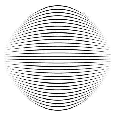 Spherical, globe distort effect. Curved bulge, protrude warp. Convex globular extrusion. Circular bump deformation design