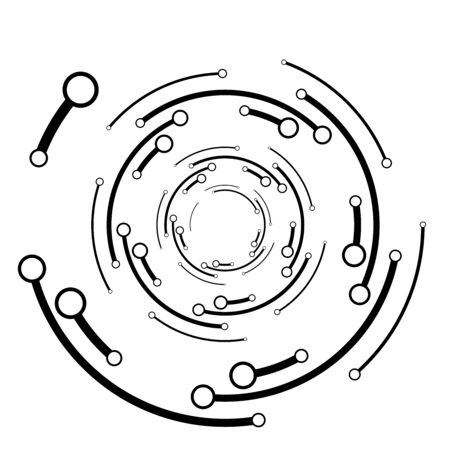 Plexus, wire-frame radial circles with nodes. Geometric spiral for technology, block chain, circuit like themes. Cycle rings design. Swirl, twirl, vortex concentric lines. Molecule, circuit concept illustration Vettoriali