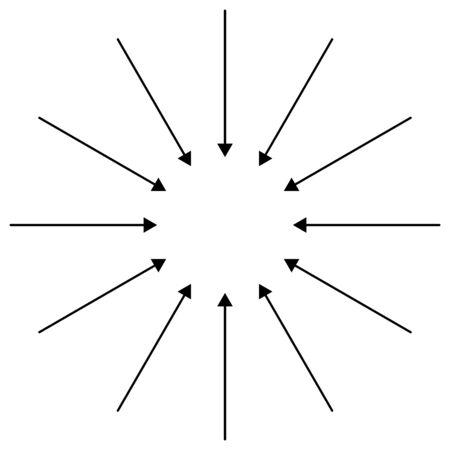 Inward circular, radial arrows for tighten, collision, collide themes. Collapse,  denture cursor illustration. Diminish, merge pointer element