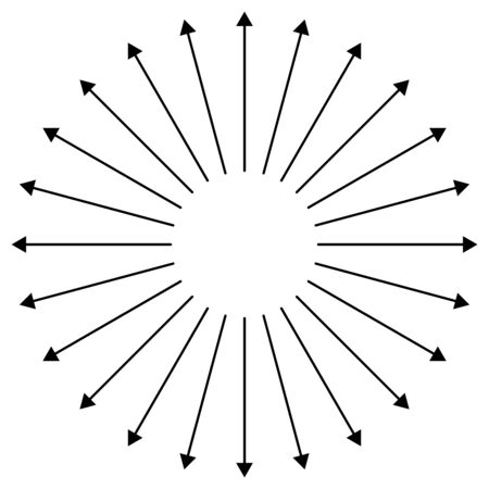 Radial, radiating arrows for expand, extend, explosion themes. Diverge, alignment concept circular pointers illustration. Spoke-like bulge, extrusion cursor design Vector Illustration