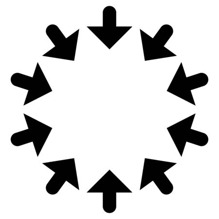 Circular, radial arrows for convergence, shrink, suction, merge concepts. Pointer design for collapse, squeeze themes.