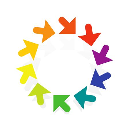 Circular, radial arrow for centrifuge, twist, cycle themes. Ripple, exchange pointer design. Cursor illustration for redo, flow, circulation concepts Ilustrace
