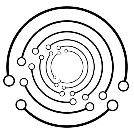Plexus, wire-frame radial circles with nodes. Geometric spiral for technology, block chain, circuit like themes. Cycle rings design. Swirl, twirl, vortex concentric lines. Molecule, circuit concept illustration
