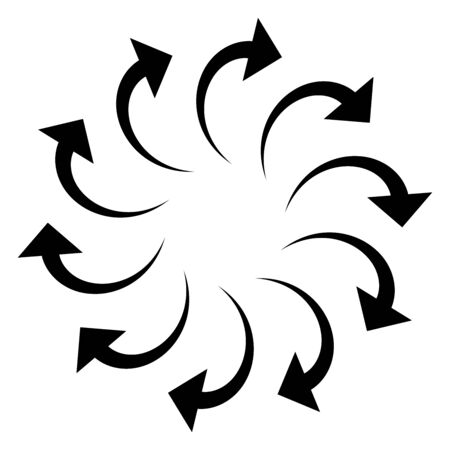 Curved circular arrow. Radial, concentric pointer for spin, orbit, twine concept. Twist, cycle, rotary cursor design