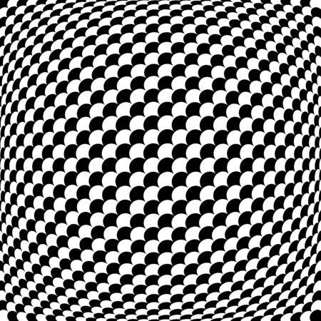 Spherical, globe circular distort effect pattern. Curved bulge, protrude warp effect. Convex globular, extrusion, bump deformation Ilustração