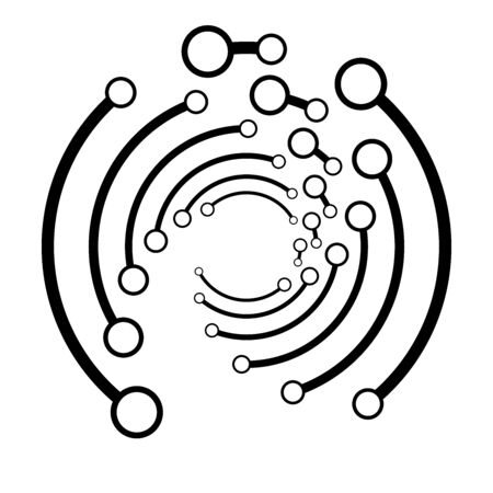 Plexus, wire-frame radial circles with nodes. Geometric spiral for technology, block chain, circuit like themes. Cycle rings design. Swirl, twirl, vortex concentric lines. Molecule, circuit concept illustration Illusztráció
