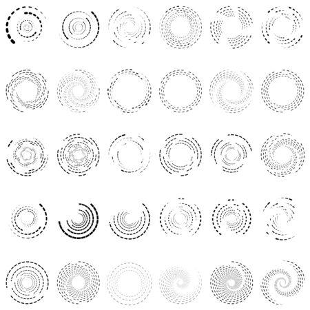 Twirl, spiral, swirl circle set of 30. Random radial, radiating circular lines. Volutes, helix set illustration. Concentric  rings set