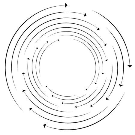 Rotation, révolution, illustration de flèche circulaire de concept de torsion. radiale, spirale rayonnante, tourbillon, tourbillon de conception de pointeurs. circulation, recyclage, récupération forme de flèches abstraites. cercles segmentés, anneaux aux angles. procédure, processus, thème de progression curseur rayonnant