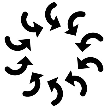 Rotate circular, radial arrows for cycle, iteration concepts. Concentric pointers for process, procedure, repetition themes. Cyclical, spinning cursor illustration