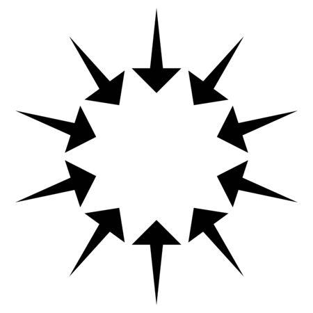 Kreisförmige, radiale Pfeile für Konvergenz-, Schrumpf-, Saug-, Zusammenführungskonzepte. Zeigerdesign für Zusammenbruch, Squeeze-Themen.