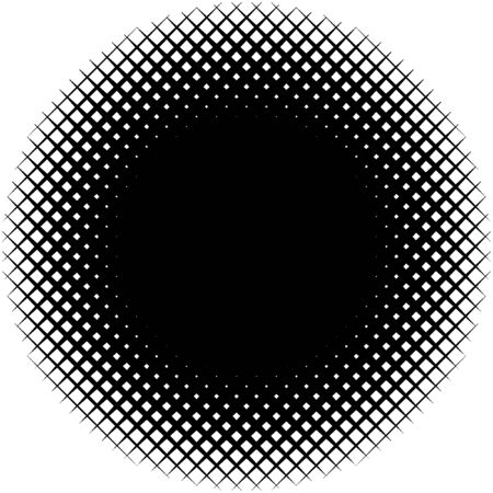 Circle form grid, mesh. Intersected strips geometric circle element. Angular, geometric half-tone circle illustration. Intersecting streaks, bars, stripes circle (Thick lines version)