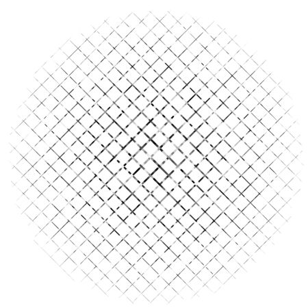 Abstract grayscale geometric circle element with overlapping shapes. Mosaic circle grid, mesh. Circular, radial abstract black and white illustration. Op-art element