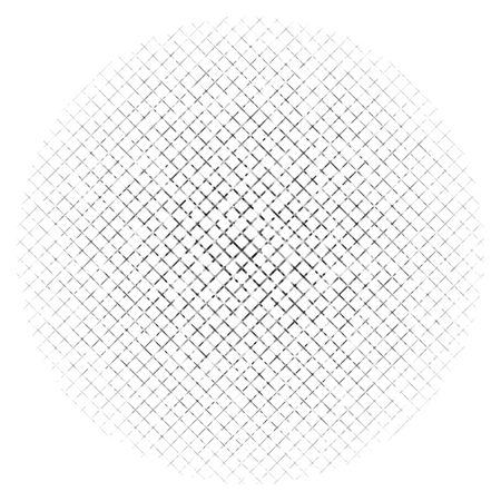 Abstraktes geometrisches Kreiselement in Graustufen mit überlappenden Formen. Mosaik-Kreisgitter, Masche. Kreisförmige, radiale abstrakte Schwarz-Weiß-Darstellung. Op-Art-Element