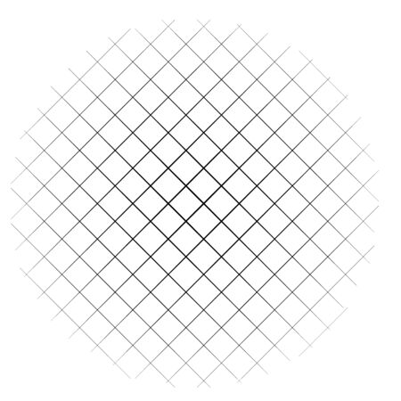 Circle form grid, mesh. Intersected strips geometric circle element. Angular, geometric half-tone circle illustration. Intersecting streaks, bars, stripes circle (Thin lines version)
