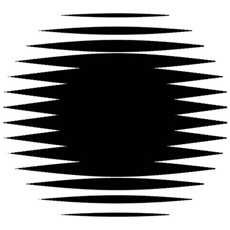 Abstract lines circle. Thick lines halftone circle element. Parallel, straight strips, stripes. Simple, basic geometric black and white circle illustration Ilustração
