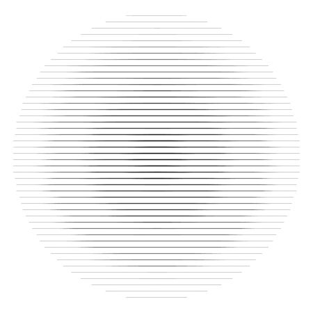 Abstract lines circle. Thin lines halftone circle element. Parallel, straight strips, stripes. Simple, basic geometric black and white circle illustration Çizim