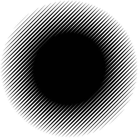 Diagonal, oblique lines abstract geometric circle. Slanting, slope lines halftone circle. Radial, circular skew, tilt parallel straight stripes (Thick lines version) Çizim