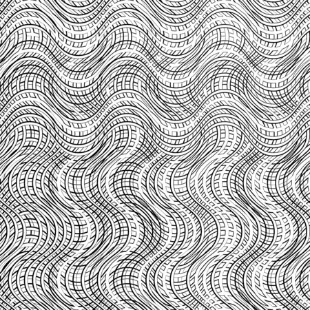 Abstract geometric mesh, grid pattern of interweaved, interlocking lines, stripes. Cellular matrix, web texture of intersecting lines. Complex grating, grill of wavy, zig-zag, criss-cross line shapes. Abstract line pattern