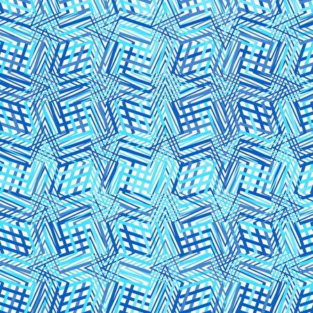 Intersected, interweaved irregular lines, stripes blue grid pattern. Interlocking, weaved curvy and jagged lines, stripes. Tweaked, distorted cross hatch cellular, reticulate mesh pattern, mesh texture (blue version)