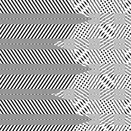 Interlace, interlocking lines. Curve, flex intersecting lines grid, mesh. Interweaved waving, zig-zag lines. Combined, merging lines, stripes pattern. Geometric abstract pattern