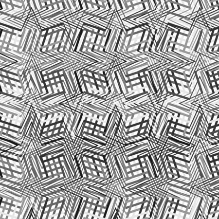 Complicated greyscale geometric pattern, geometric texture of asymmetric, dense lines with camber, weave effect. Crossed, intersecting wavy, zig-zag stripes, lines. Jumble of cluttered, interlocking lines Illustration