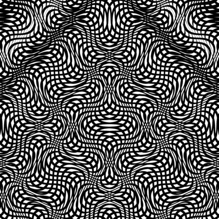 Grid pattern, mesh background of wavy, waving distortion, deformation on crossing lines. Jumble, cross-hatched lines. Interlace, interweave, interlock lines. Intersecting hatch lines, stripes. Moire pattern, moire texture