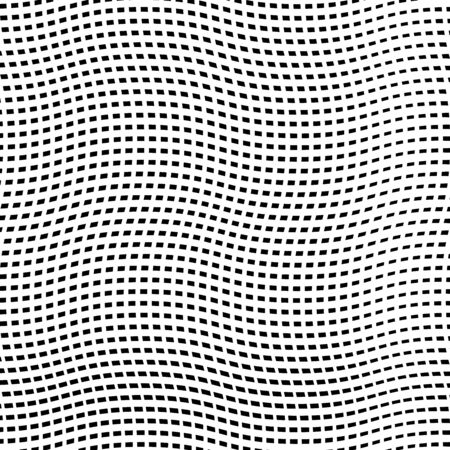 White grill, reticular pattern of crisscross, zig zag lines. Symmetric grid, mesh of lines with camber, arc effect. Cells of crossed wavy, squiggle, billowy weave lines Illustration