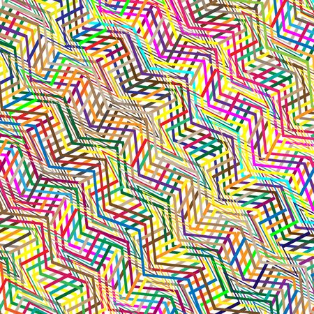Colorful scribble, cross hatch geometric lines pattern. Intersecting zig-zag, squiggle lines multicolor background. Interlocking, interlace curve parallel line grid, mesh texture. Vivid, vibrant colorful pattern