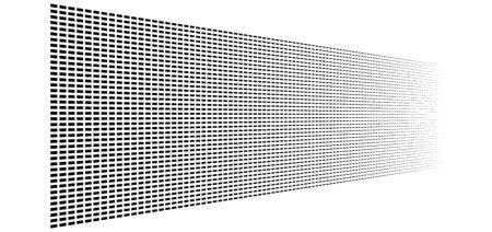 3d segmented, dashed lines geometric pattern. Vanish, diminish strips in perspective. Irregular stripes Vektoros illusztráció