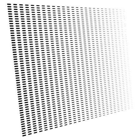 3d segmented, dashed lines geometric pattern. Vanish, diminish strips in perspective. Irregular stripes Vetores