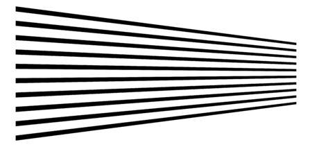 3d lines. Straight parallel stripes in perspective. Strips, streaks vanish, diminish. Horizon oblique, diagonal lines Ilustración de vector