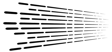 Random 3d dashed lines in perspective. segmented stripes geometric pattern. vanish, diminish streaks. irregular fading strips 矢量图像