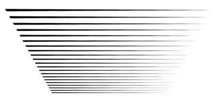 Perspective 3d lines. Stripes vanish, diminish into horizon. Simple straight, parallel strips, streaks pattern / illustration. Thin lines horizontal