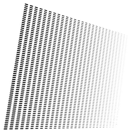 3d segmented, dashed lines geometric pattern. Vanish, diminish strips in perspective. Irregular stripes
